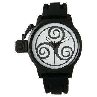 Black and White Triskelion or Triskele Wrist Watch