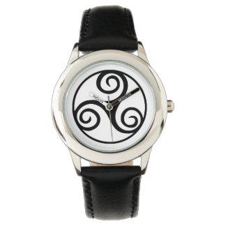 Black and White Triskelion or Triskele Wristwatch