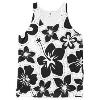 Black and White Tropical Hawaiian Luau Hibiscus