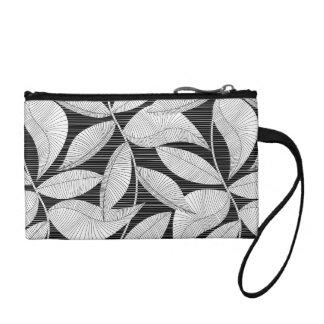 Black and white tropical leaf coin purse