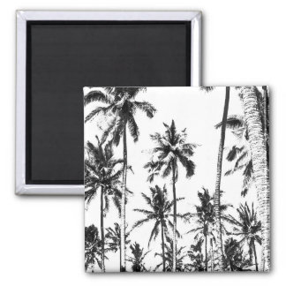 Black and white tropical palm tree modern summer magnet
