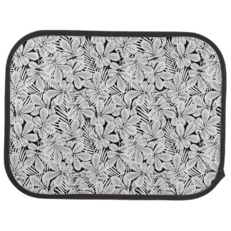 Black and white tropical plants car mat