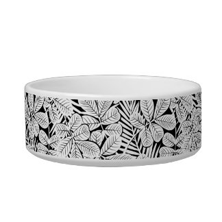 Black and white tropical plants cat water bowl