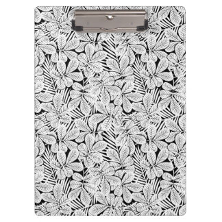 Black and white tropical plants clipboard