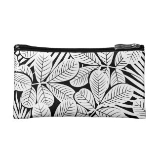 Black and white tropical plants cosmetic bag