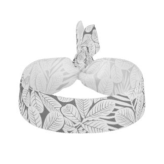 Black and white tropical plants hair tie