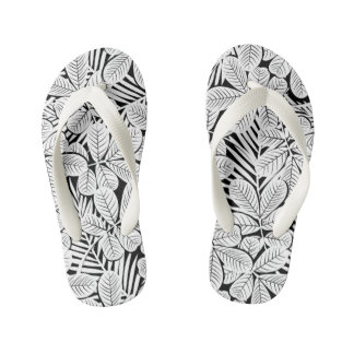 Black and white tropical plants kid's flip flops