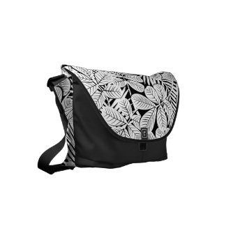 Black and white tropical plants messenger bags