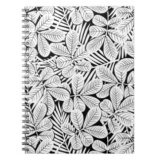Black and white tropical plants notebooks
