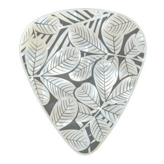 Black and white tropical plants pearl celluloid guitar pick