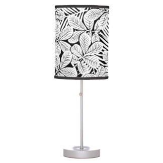 Black and white tropical plants table lamp
