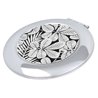 Black and white tropical plants travel mirror