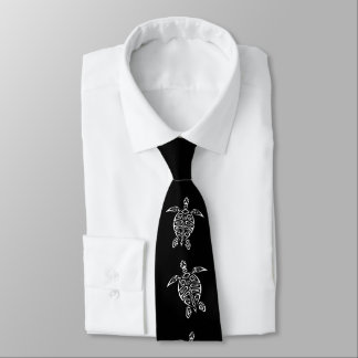 Black And White Turtles Triabal Tattoo Animal Tie