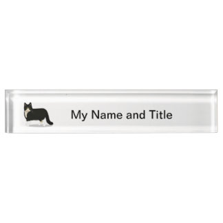 Black and White Tuxedo Cat Desk Name Plate