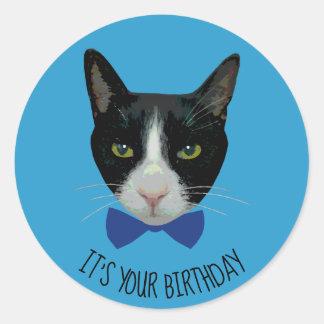 Black and White Tuxedo Cat - It's Your Birthday Classic Round Sticker