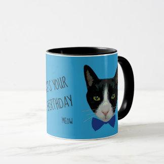 Black and White Tuxedo Cat - It's Your Birthday Mug