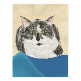 Black and White Tuxedo Cat Painting Postcards