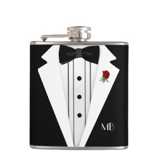 Black and White Tuxedo Groomsmen Hip Flask