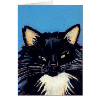 Black and white tuxedo long haired cat art Grumpus Card