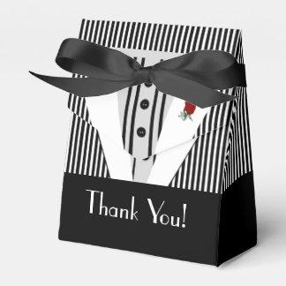Black and White Tuxedo-Striped Favor Box
