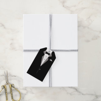 Black and White Tuxedo Suit Art Gift Tag