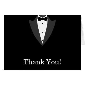 Black and White Tuxedo Thank You Greeting Card