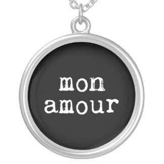 Black and White Typewritten Mon Amour Silver Plated Necklace