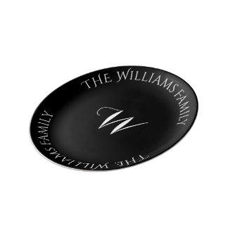 Black and White Typography Custom Monogram W Name Porcelain Plates
