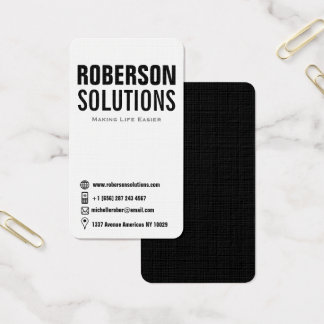 Black and white typography double sided icons business card