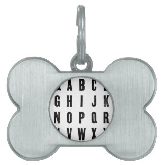 Black and White Typography Pet ID Tags