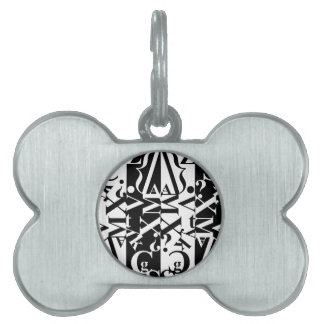 black-and-white typography pet tag