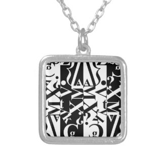 black-and-white typography silver plated necklace