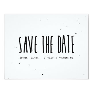 Black and White Typography Splatter Save the Date Card