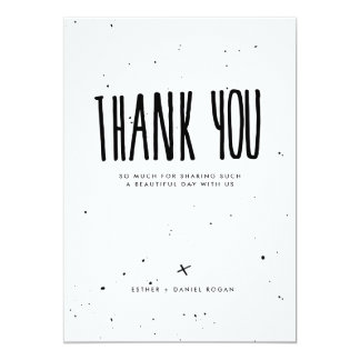 Black and White Typography Splatter Thank You Card