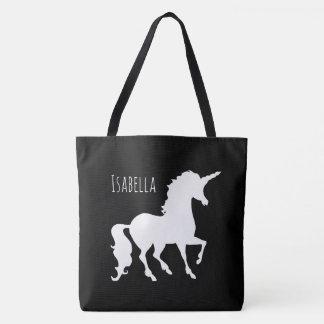 Black and White Unicorn Silhouette Modern Trendy Tote Bag