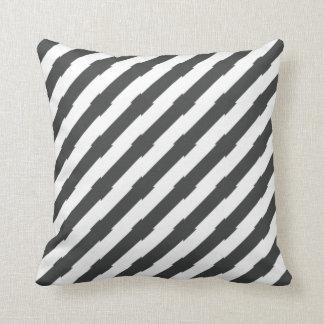 Black and White Unique Diagonal Striped Throw Pillow