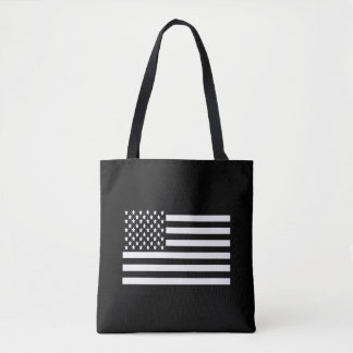Black and White US Flag Tote Bag