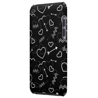 Black and White Valentines Love Heart and Arrow Barely There iPod Cases