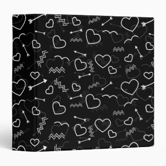Black and White Valentines Love Heart and Arrow Binder