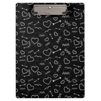 Black and White Valentines Love Heart and Arrow Clipboard