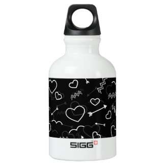 Black and White Valentines Love Heart and Arrow Water Bottle