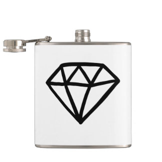 Black and white version of diamond hip flask