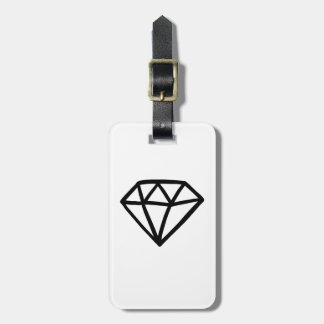 Black and white version of diamond luggage tag