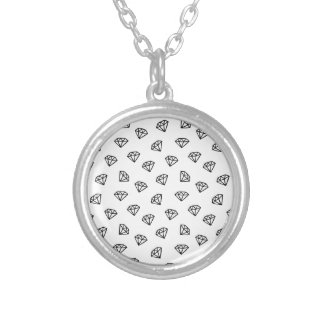 Black and white version of diamond. silver plated necklace