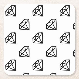 Black and white version of diamond square paper coaster