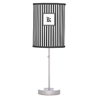 Black and White Vertical lines Table Lamp