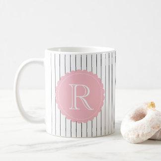 Black and White Vertical Stripes Blush Monogram Coffee Mug