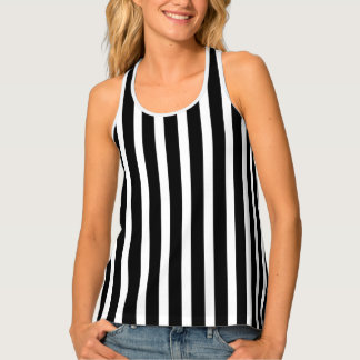 Black And White Vertical Stripes Pattern Tank Top