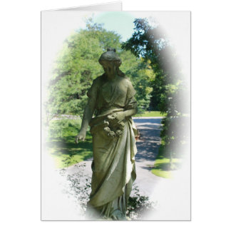 Black and White Victorian Angel Statue Card
