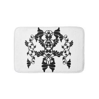 Black and White Victorian Embellishing Flowers Bath Mat